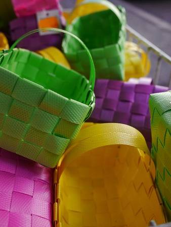 coloful: coloful basket cases for Easter at display