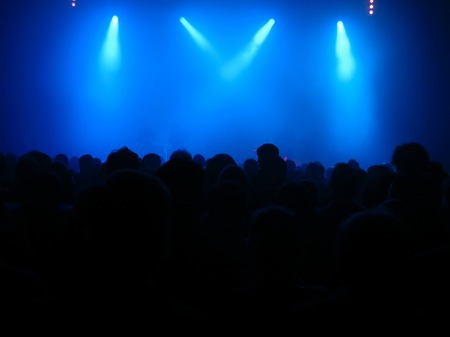nightclub party: a lot of people on a concert Stock Photo