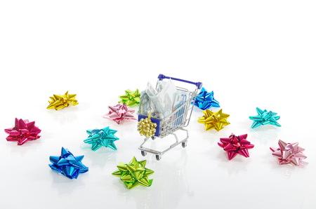 xmas background: Christmas xmas shopping isolated on white background