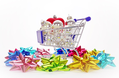 xmas background: Christmas xmas shopping isolated on white background