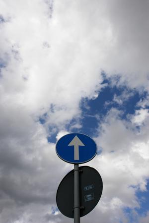 background information: arrow sign sky traffic upward up to success Stock Photo