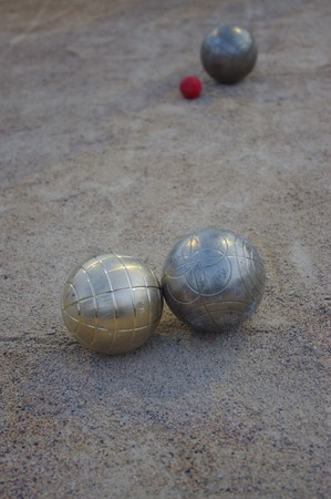 bocce: Metal spheres for game in boccia on sand