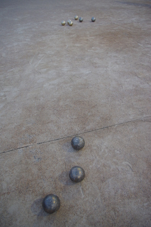 bocce ball: Metal spheres for game in boccia on sand