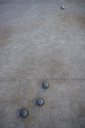 boules: Metal spheres for game in boccia on sand
