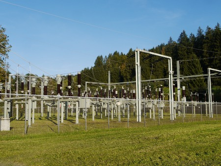isolator insulator: Electricity and power generation industry electric power transformation substation Stock Photo