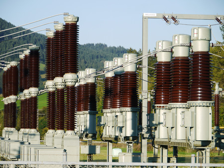 electrical tower: Electricity and power generation industry electric power transformation substation Stock Photo