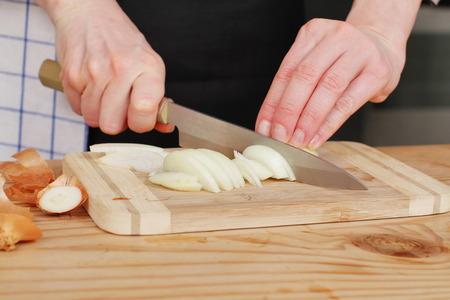 onion slice: Onion slice on a cutting board Stock Photo