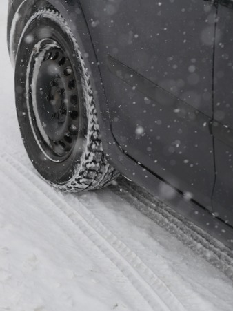 winter tyre: Winter tyres in extreme cold temperature slippery winter tyre car Stock Photo