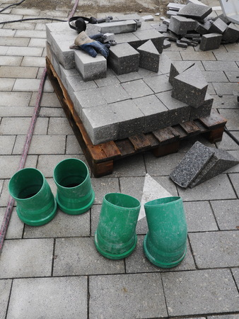 roadworks: roadworks with cobblestones at a building site..