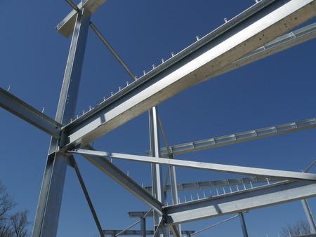 steelwork: steel framework frame structure  blue sky