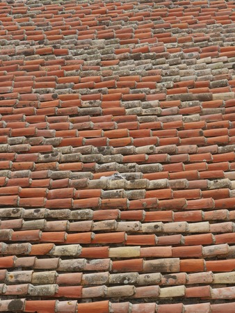 texture background: Close view of red roof tiles.