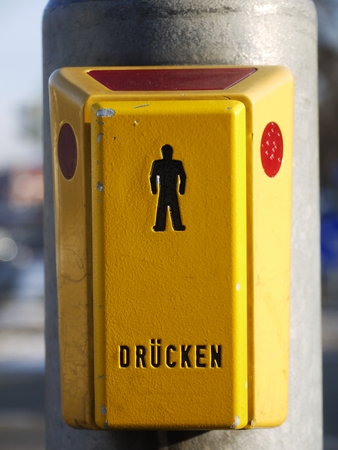 dont walk: a pedestrian light for humans which would like to cross the street