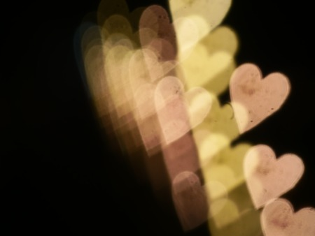 burnish: background from golden hearts bokeh