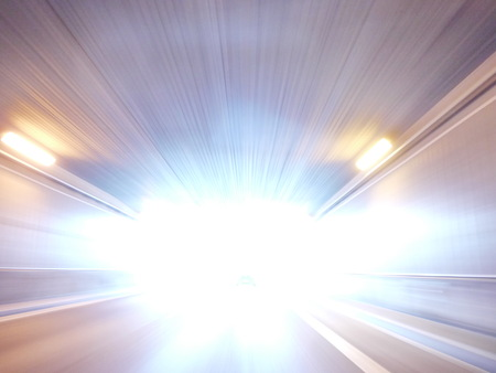the lights in a tunnel by driving