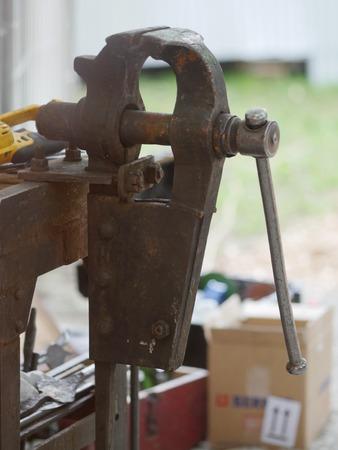 vise grip: old bench vise at a workshop