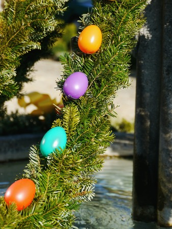 christanity: easter fountain decoration outside outdoors Stock Photo