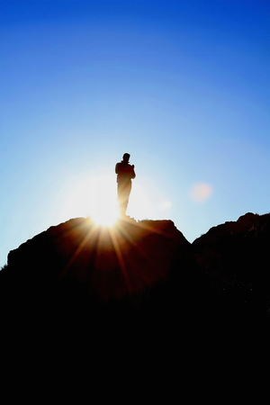 top: Man on top of mountain. man hill top sun silhouette