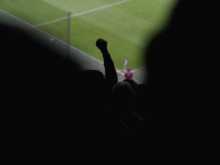 football fans: Silhouette of football fans hand in crowd. Back view. Unrecognizable