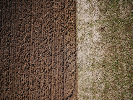 the ploughed field: Aerial view of a  freshly ploughed field Stock Photo