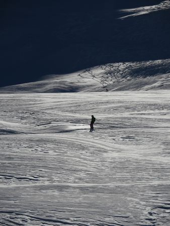 bank activities: a lone skier skis in fresh powder snow