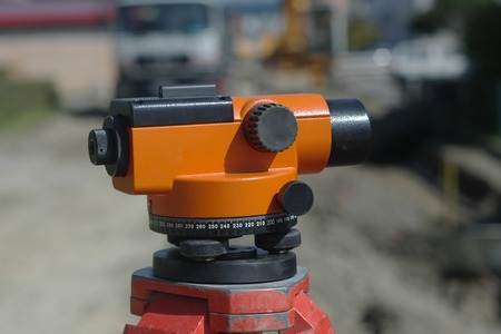 tacheometer: equipment theodolite tool at construction site raod works Stock Photo