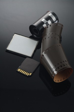 cf: SD memory card and CF card and analouge film