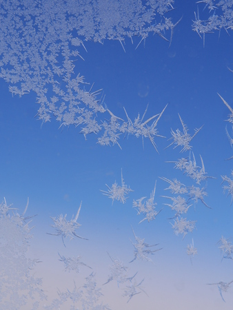 frost ice crystal on window background pattern Stock Photo