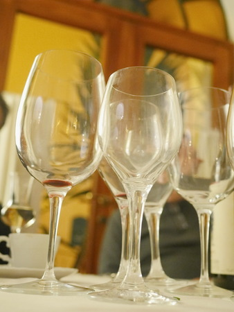 low perspective: Low perspective of empty wine glasses on table