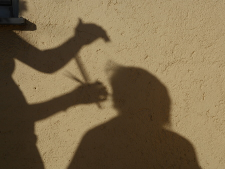 hairdresser: Hairdresser shadow on a wall