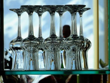stapled: stapled glases for red wine Stock Photo