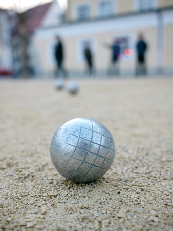 french boule: silver metal balls in sand  boccia boule Stock Photo