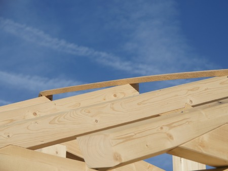housebuilding: house-building wood roof