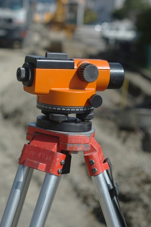 equipment theodolite tool at construction site raod works Stock Photo