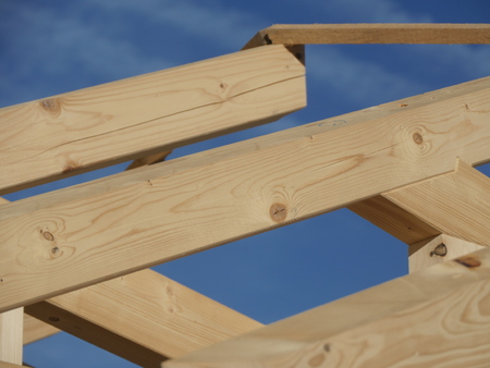 rafters: House-building wood roof Stock Photo