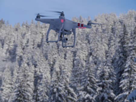 residential: A drone flying high above a forest covered with fresh snow in a bright sunny winter day.