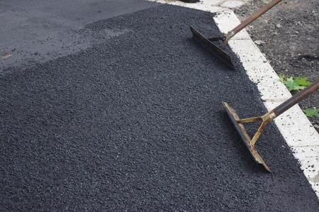 road works tarmac asphalt Standard-Bild