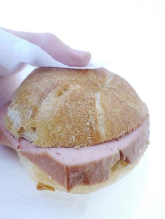 fresh type meat loaf popular germany austria holding human hand Reklamní fotografie