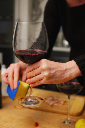 Opening a wine bottle Stock Photo
