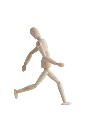 Wooden mannequin with running pose