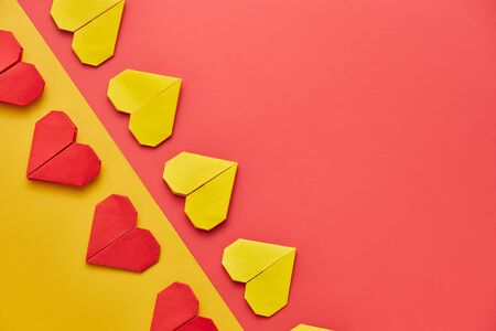 Valentines day red heart on colorful background, top view with copy space Imagens