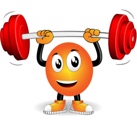 gym: Smiley who played sports with weight bar Illustration