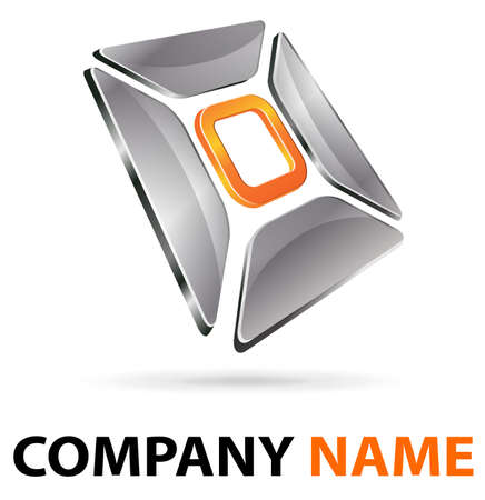 Logo 3d abstract chroom en oranje