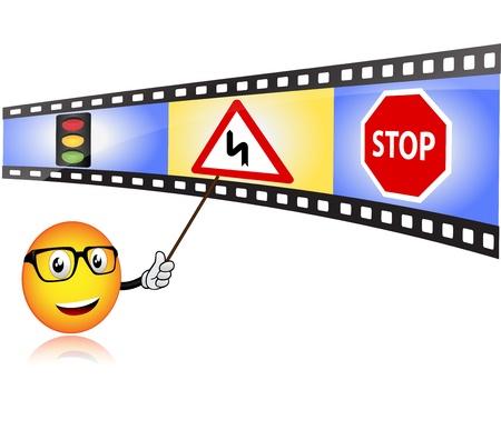 autoscuola: Scuola guida con insegnante smiley Vettoriali