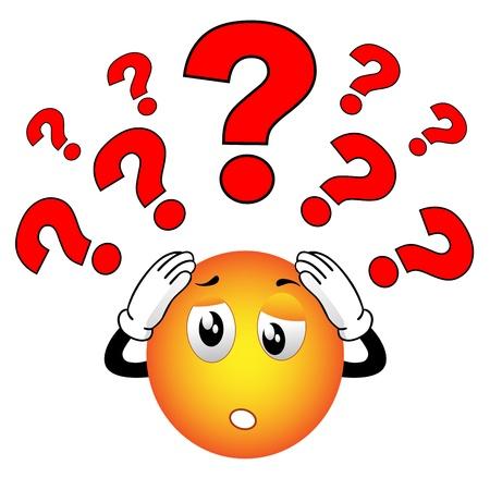 preguntando: Smiley que tienen muchas preguntas y el estrés Vectores