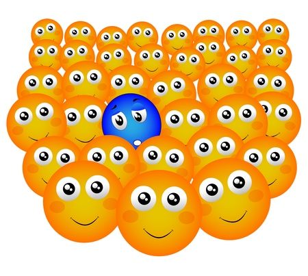 miserable person in the happy crowd Stock Vector - 20440107