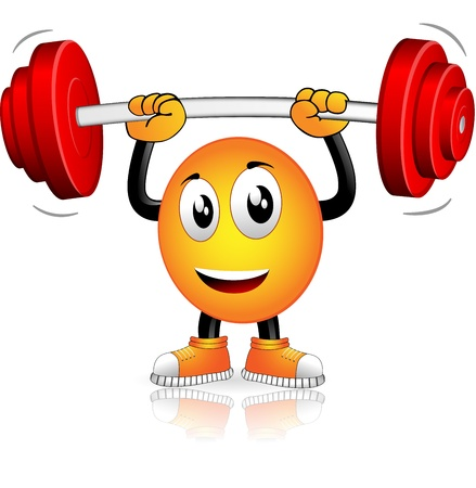beings: Smiley who played sports with weight bar Illustration