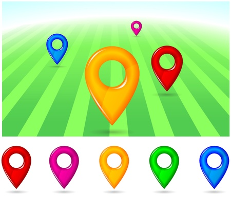 gps pointers in different colors Stock Photo - 20440116