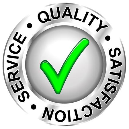 Label-Qualität, Zufriedenheit, Service Vektorgrafik