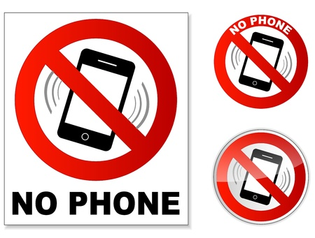 telefon: No telefon Ilustracja