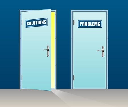 Solutions door open and problems close Stock Vector - 21774763